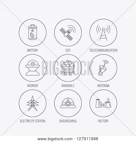 Worker, minerals and engineering helm icons. GPS satellite, electricity station and factory linear signs. Telecommunication, battery icons. Linear colored in circle edge icons.