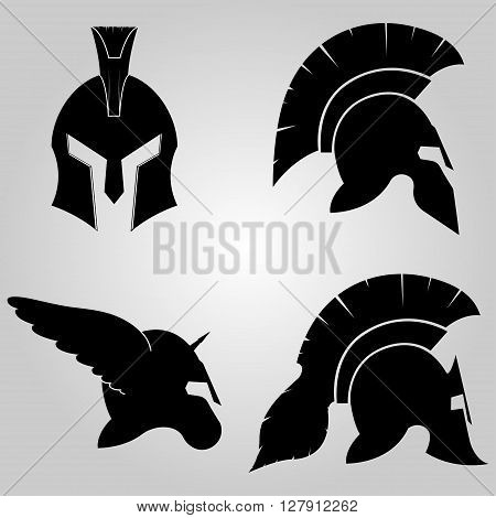 Spartan Helmets set,  full face and in profile silhouettes,  winged  helm with horn, symbol of gladiator soldier or greek warrior or roman legionary, helmet hero sign, vector