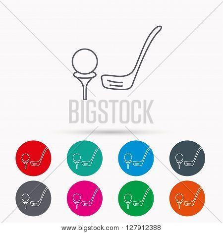 Golf club icon. Golfing sport sign. Professional equipment symbol. Linear icons in circles on white background.