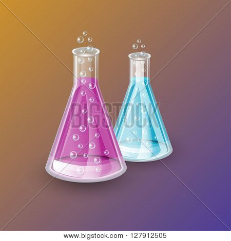 Two realistic dry bulbs, chemical flask transparent glass bottle of blue and purple liquids, liquids color can be easily changed, with bubbles and shadows, chemical icon, background, vector
