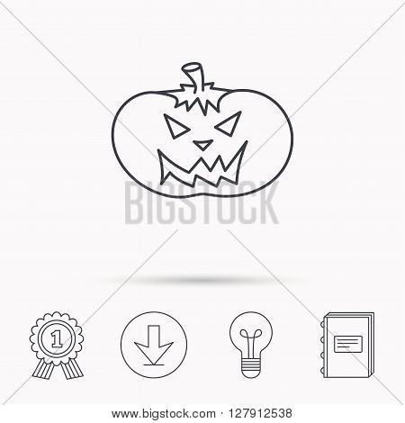 Halloween pumpkin icon. Scary smile sign. Download arrow, lamp, learn book and award medal icons.