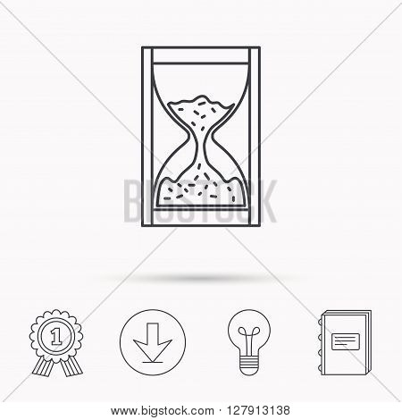 Hourglass icon. Sand time sign. Download arrow, lamp, learn book and award medal icons.