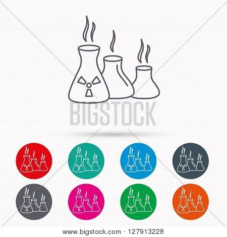 Industry building icon. Manufacturing sign. Chemical toxic production symbol. Linear icons in circles on white background.