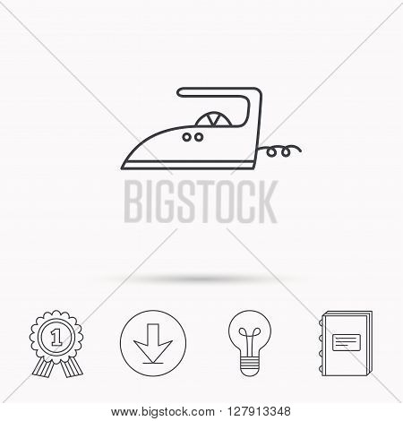 Iron icon. Ironing housework sign. Laundry service symbol. Download arrow, lamp, learn book and award medal icons.