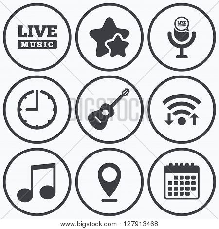 Clock, wifi and stars icons. Musical elements icons. Microphone and Live music symbols. Music note and acoustic guitar signs. Calendar symbol.