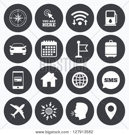 Wifi, calendar and mobile payments. Navigation, gps icons. Windrose, compass and map pointer signs. Car, airplane and flag symbols. Sms speech bubble, go to web symbols.