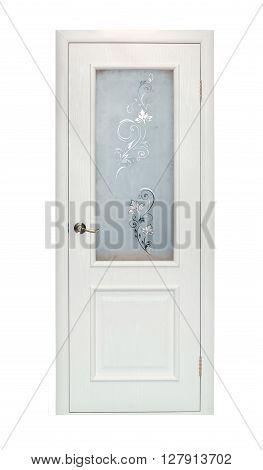 Modern beige room door isolated on white background