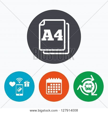 Paper size A4 standard icon. File document symbol. Mobile payments, calendar and wifi icons. Bus shuttle.