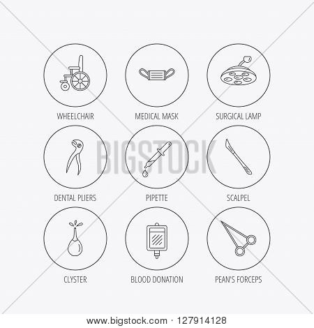 Medical mask, scalpel and dental pliers icons. Pipette, surgical lamp and wheelchair linear signs. Blood donation, clyster and drop flat line icons. Linear colored in circle edge icons.