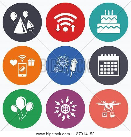 Wifi, mobile payments and drones icons. Birthday party icons. Cake, balloon, hat and muffin signs. Fireworks with rocket symbol. Double decker with candle. Calendar symbol.