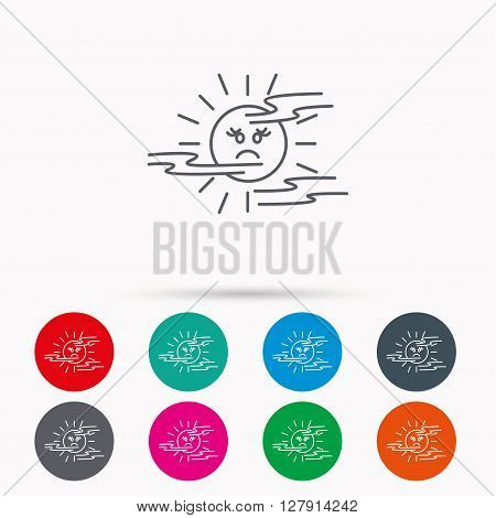 Mist icon. Fog with sun sign. Sunny smile symbol. Linear icons in circles on white background.