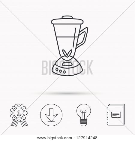 Mixer icon. Blender sign. Kitchen electric tool symbol. Download arrow, lamp, learn book and award medal icons.