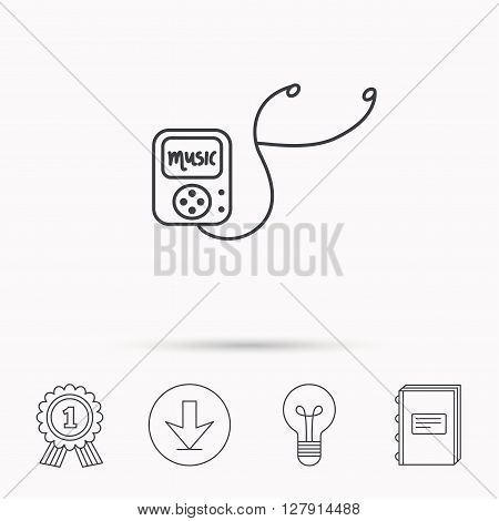 Music player icon. Songs portable device sign. Multimedia sound technology symbol. Download arrow, lamp, learn book and award medal icons.