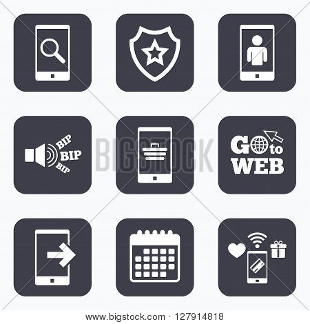 Mobile payments, wifi and calendar icons. Phone icons. Smartphone video call sign. Search, online shopping symbols. Outcoming call. Go to web symbol.