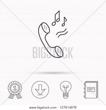 Phone icon. Call ringtone sign. Download arrow, lamp, learn book and award medal icons.
