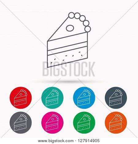 Piece of cake icon. Sweet dessert sign. Pastry food symbol. Linear icons in circles on white background.