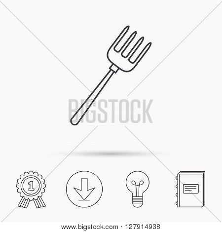 Pitchfork icon. Agriculture sign symbol. Download arrow, lamp, learn book and award medal icons.