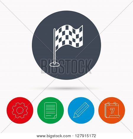 Racing flag icon. Finishing symbol. Calendar, cogwheel, document file and pencil icons.