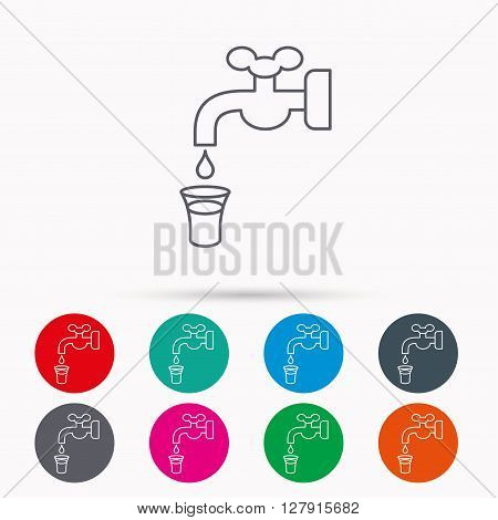 Save water icon. Crane or Faucet with drop sign. Linear icons in circles on white background.
