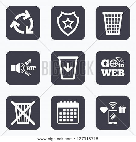 Mobile payments, wifi and calendar icons. Recycle bin icons. Reuse or reduce symbols. Trash can and recycling signs. Go to web symbol.