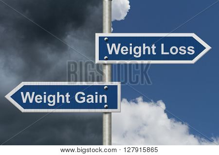 Weight Loss versus Weight Gain Two Blue Road Sign with text Weight Loss and Weight Gain with bright and stormy sky background, 3D Illustration