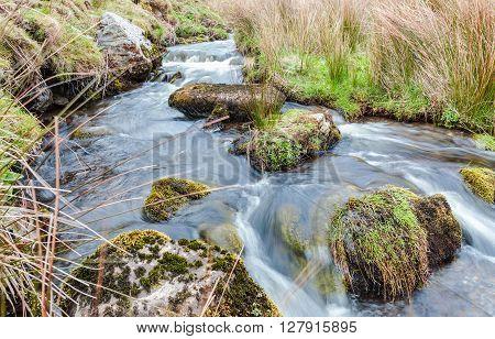 Streaks of Clear Water Stream Flowing Between Mossy Rocks