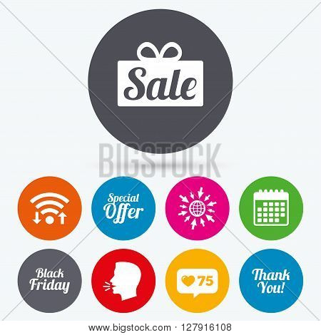 Wifi, like counter and calendar icons. Sale icons. Special offer and thank you symbols. Gift box sign. Human talk, go to web.