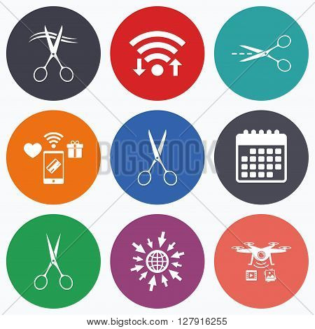 Wifi, mobile payments and drones icons. Scissors icons. Hairdresser or barbershop symbol. Scissors cut hair. Cut dash dotted line. Tailor symbol. Calendar symbol.