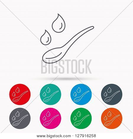 Spoon with water drops icon. Baby medicine dose sign. Child food symbol. Linear icons in circles on white background.