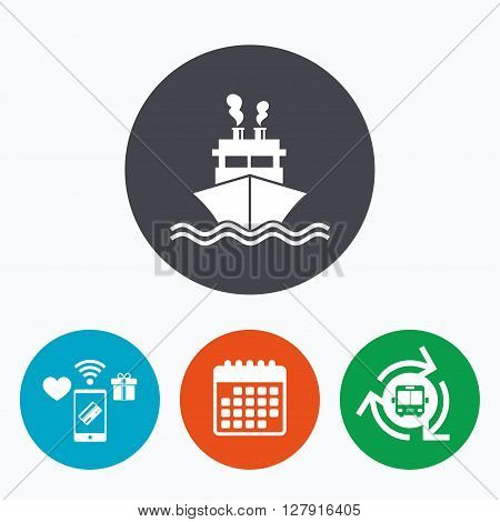 Ship or boat sign icon. Shipping delivery symbol. Smoke from chimneys or pipes. Mobile payments, calendar and wifi icons. Bus shuttle.