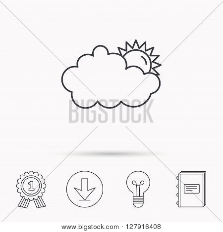 Sunny day icon. Summer sign. Overcast weather symbol. Download arrow, lamp, learn book and award medal icons.