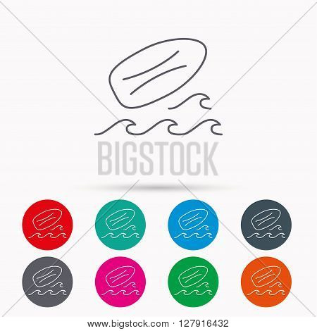 Surfboard icon. Surfing waves sign. Linear icons in circles on white background.