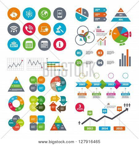 Wifi, calendar and web icons. Online shopping, e-commerce and business icons. Auction, phone call and information signs. Piggy bank, calendar and smartphone symbols. Diagram charts design.