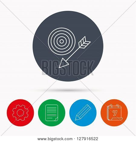 Target with arrow icon. Dart aim sign. Calendar, cogwheel, document file and pencil icons.