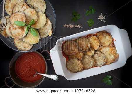 Baking Pan With Fried Eggplant Slices