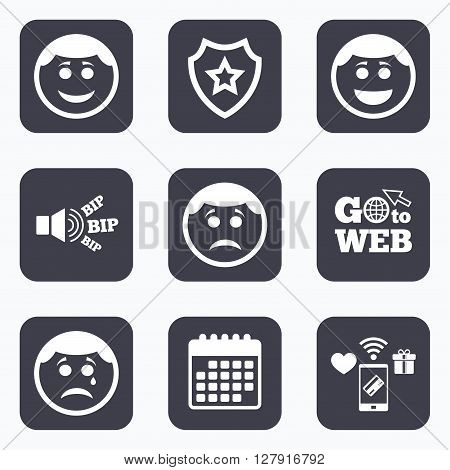 Mobile payments, wifi and calendar icons. Circle smile face icons. Happy, sad, cry signs. Happy smiley chat symbol. Sadness depression and crying signs. Go to web symbol.