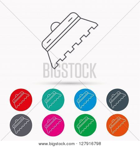 Trowel for tile icon. Spatula repair tool sign. Linear icons in circles on white background.