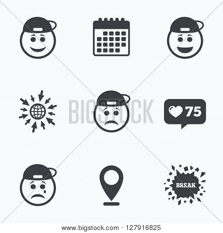 Calendar, like counter and go to web icons. Rapper smile face icons. Happy, sad, cry signs. Happy smiley chat symbol. Sadness depression and crying signs. Location pointer.