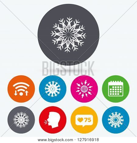 Wifi, like counter and calendar icons. Snowflakes artistic icons. Air conditioning signs. Christmas and New year winter symbols. Frozen weather. Human talk, go to web.