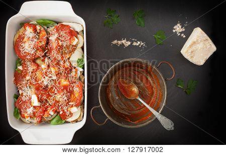 Eggplant Parmigiana Ready For Bake