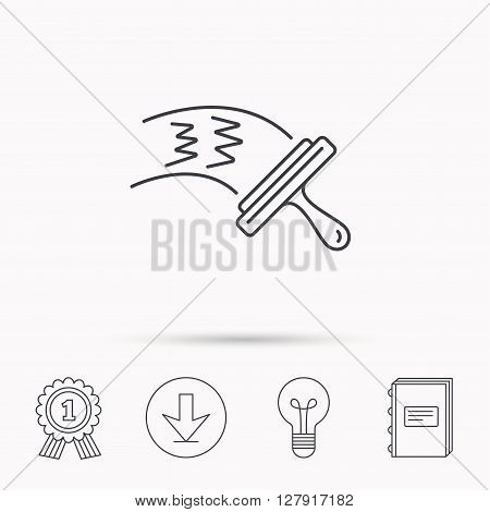 Washing windows icon. Cleaning sign. Download arrow, lamp, learn book and award medal icons.