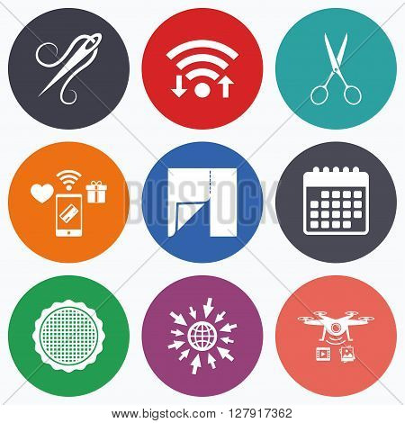 Wifi, mobile payments and drones icons. Textile cloth piece icon. Scissors hairdresser symbol. Needle with thread. Tailor symbol. Canvas for embroidery. Calendar symbol.