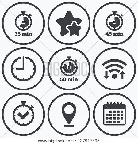 Clock, wifi and stars icons. Timer icons. 35, 45 and 50 minutes stopwatch symbols. Check or Tick mark. Calendar symbol.