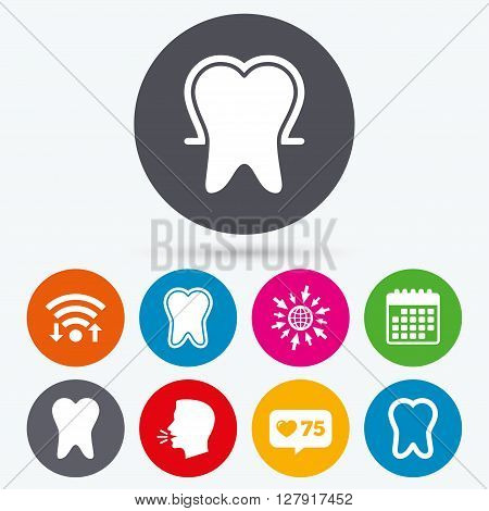 Wifi, like counter and calendar icons. Tooth enamel protection icons. Dental toothpaste care signs. Healthy teeth sign. Human talk, go to web.