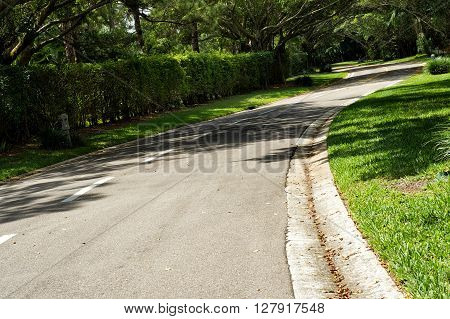 Beautifully Curving Landscaped Tree Lined Road