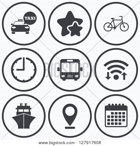 Clock, wifi and stars icons. Transport icons. Taxi car, Bicycle, Public bus and Ship signs. Shipping delivery symbol. Speech bubble sign. Calendar symbol.