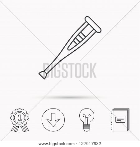 Crutch icon. Orthopedic therapy sign. Medical care equipment symbol. Download arrow, lamp, learn book and award medal icons.