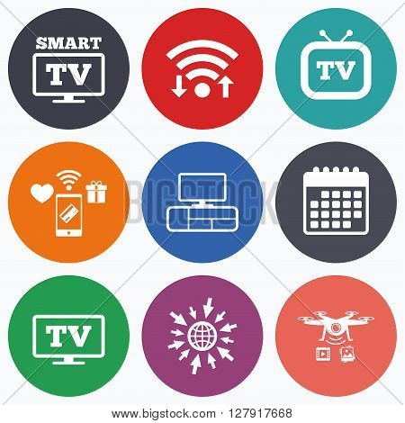 Wifi, mobile payments and drones icons. Smart TV mode icon. Widescreen symbol. Retro television and TV table signs. Calendar symbol.