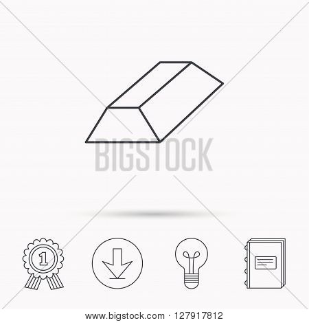 Gold bar icon. Banking treasure sign. Download arrow, lamp, learn book and award medal icons.