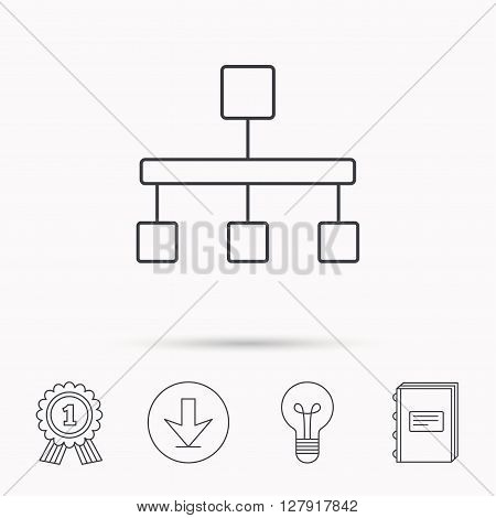 Hierarchy icon. Organization chart sign. Database symbol. Download arrow, lamp, learn book and award medal icons.